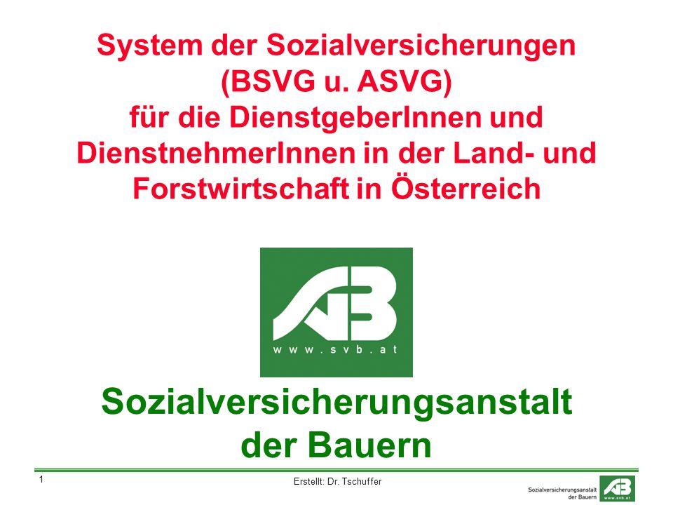 Erstellt: Dr. Tschuffer 1 System der Sozialversicherungen (BSVG u.