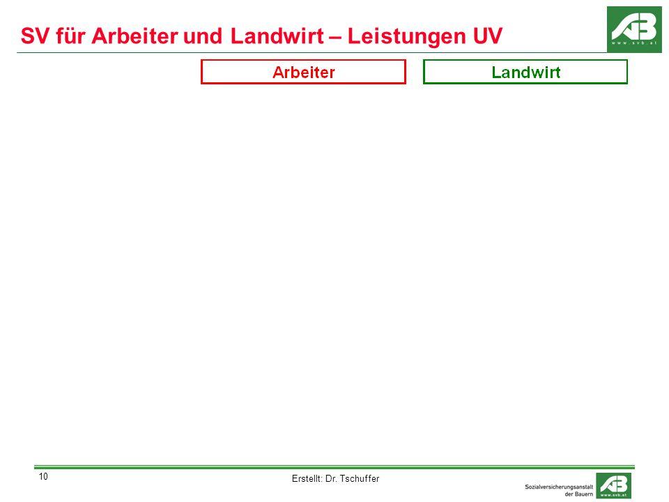 Erstellt: Dr. Tschuffer 10 SV für Arbeiter und Landwirt – Leistungen UV