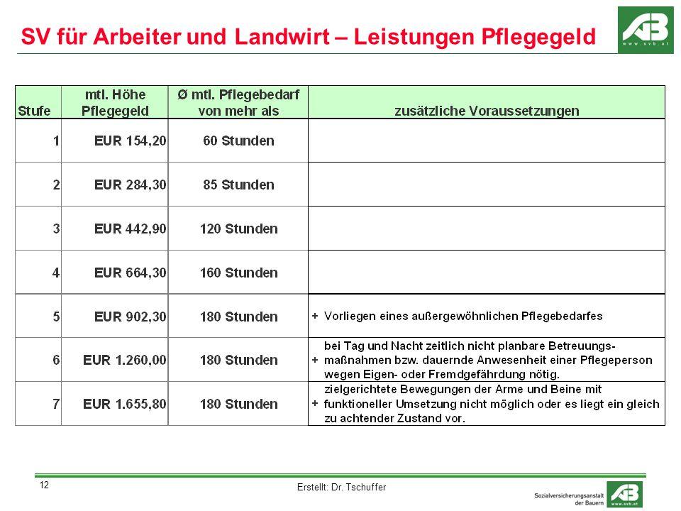 Erstellt: Dr. Tschuffer 12 SV für Arbeiter und Landwirt – Leistungen Pflegegeld