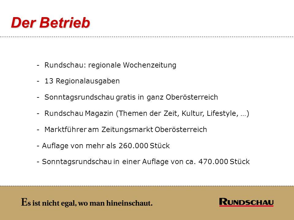 Der Betrieb - Rundschau: regionale Wochenzeitung - 13 Regionalausgaben - Sonntagsrundschau gratis in ganz Oberösterreich - Rundschau Magazin (Themen d