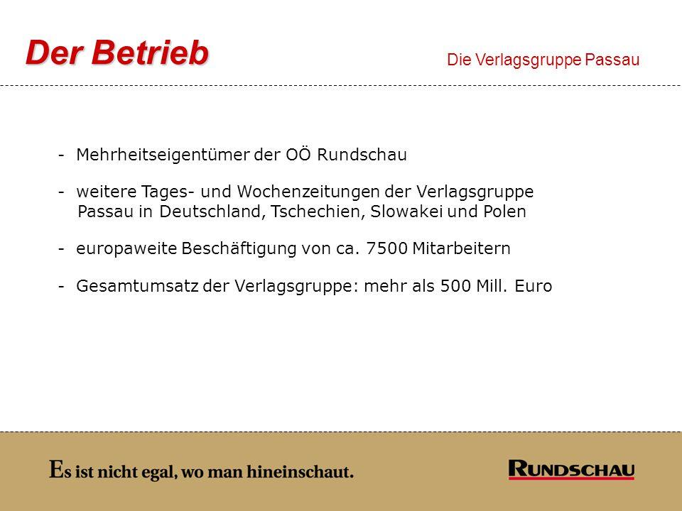 Der Betrieb Die Verlagsgruppe Passau - Mehrheitseigentümer der OÖ Rundschau - weitere Tages- und Wochenzeitungen der Verlagsgruppe Passau in Deutschla
