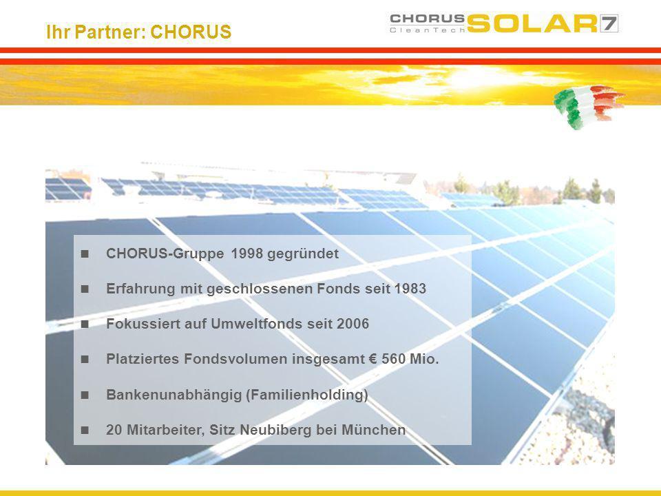 Ihr Partner: CHORUS CHORUS-Gruppe 1998 gegründet Erfahrung mit geschlossenen Fonds seit 1983 Fokussiert auf Umweltfonds seit 2006 Platziertes Fondsvol