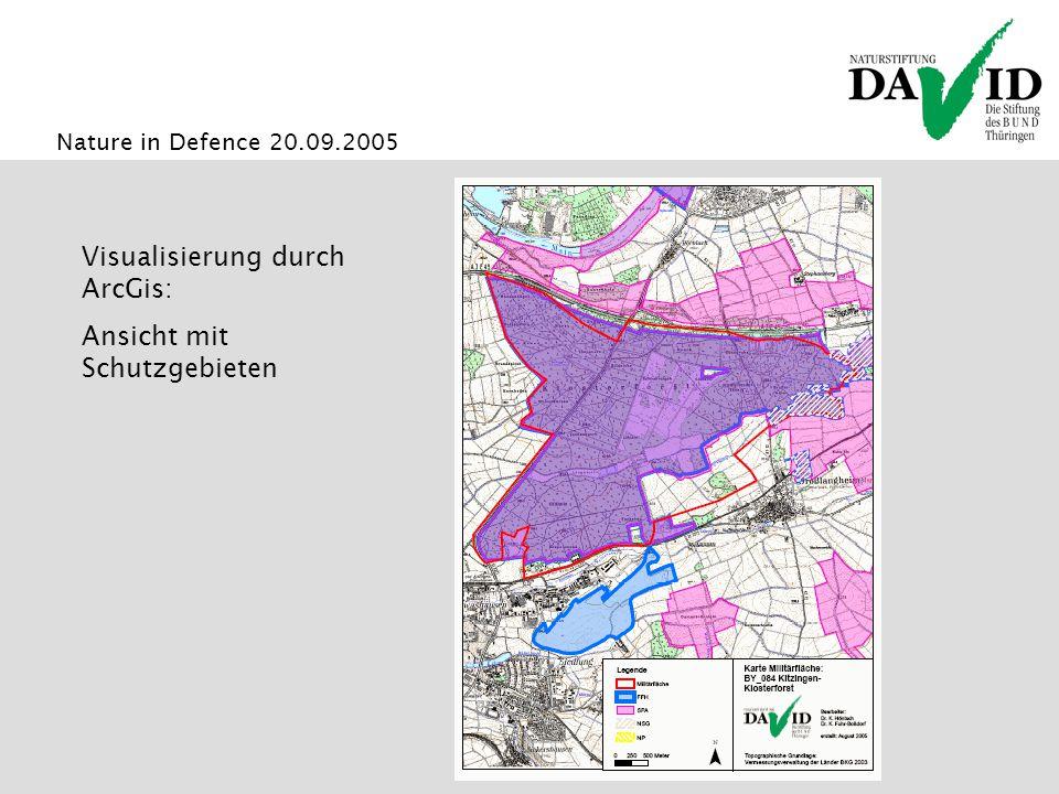 Visualisierung durch ArcGis: Ansicht mit Schutzgebieten