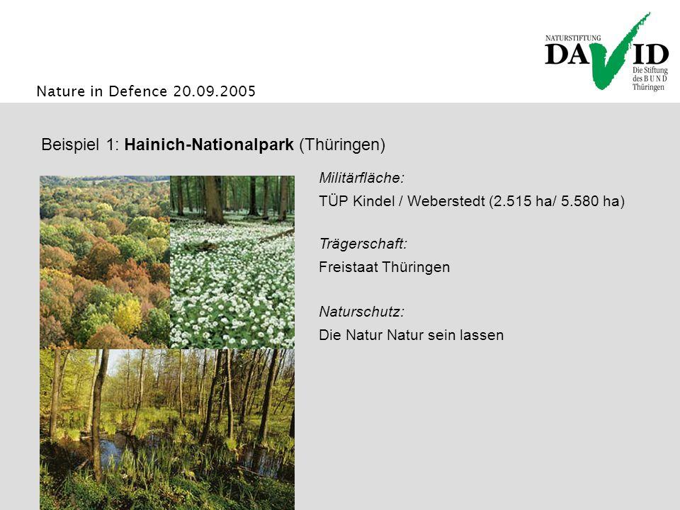 Nature in Defence 20.09.2005 Beispiel 1: Hainich-Nationalpark (Thüringen) Naturschutz: Die Natur Natur sein lassen Trägerschaft: Freistaat Thüringen Militärfläche: TÜP Kindel / Weberstedt (2.515 ha/ 5.580 ha)