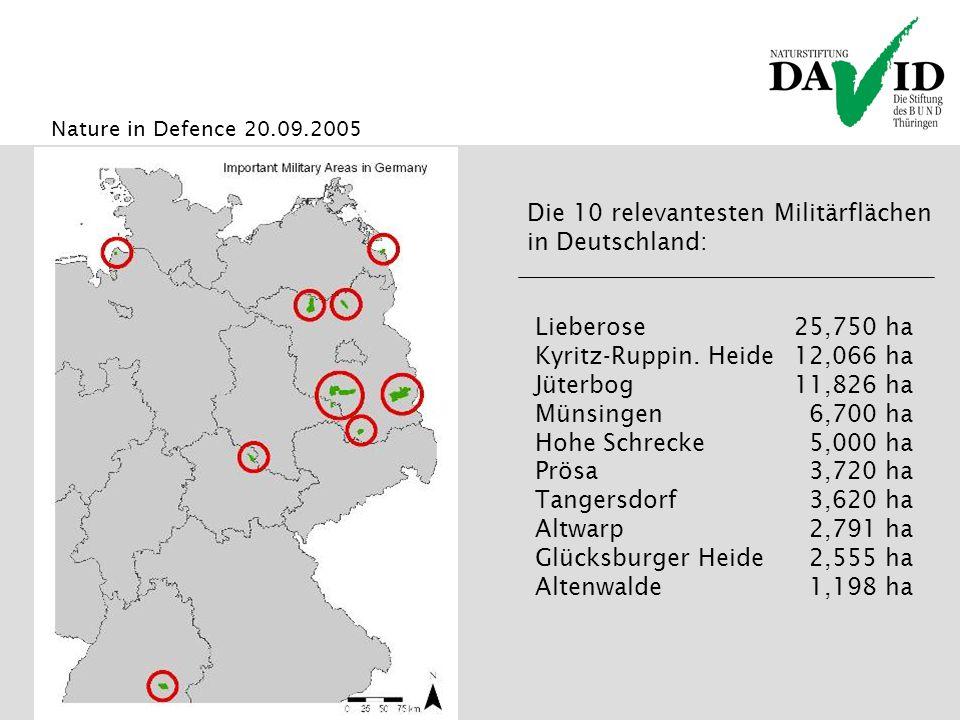 Nature in Defence 20.09.2005 Die 10 relevantesten Militärflächen in Deutschland: Lieberose25,750 ha Kyritz-Ruppin.