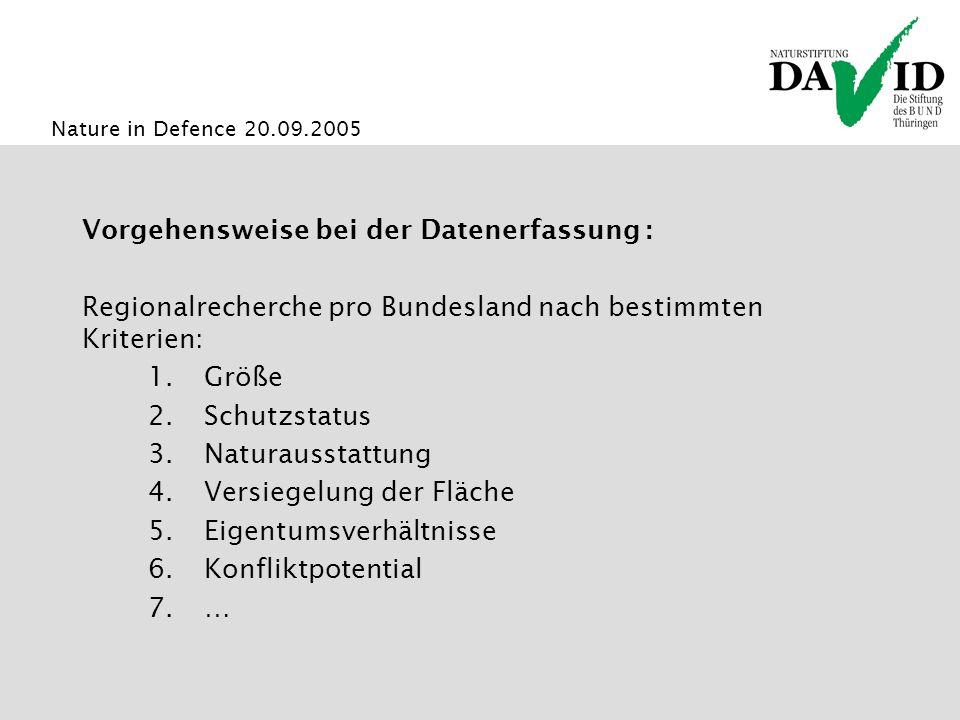 Nature in Defence 20.09.2005 Datenbank zum Naturschutzwert von Militärflächen www.naturgebiete.de