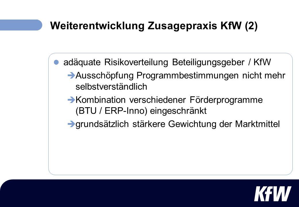 Weiterentwicklung Zusagepraxis KfW (2) adäquate Risikoverteilung Beteiligungsgeber / KfW Ausschöpfung Programmbestimmungen nicht mehr selbstverständli