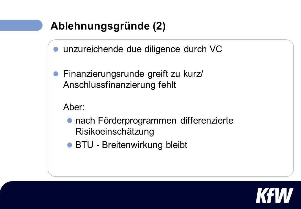unzureichende due diligence durch VC Finanzierungsrunde greift zu kurz/ Anschlussfinanzierung fehlt Aber: nach Förderprogrammen differenzierte Risikoe