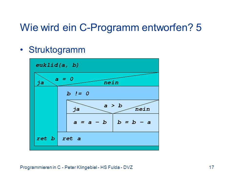 Programmieren in C - Peter Klingebiel - HS Fulda - DVZ17 Wie wird ein C-Programm entworfen? 5 Struktogramm