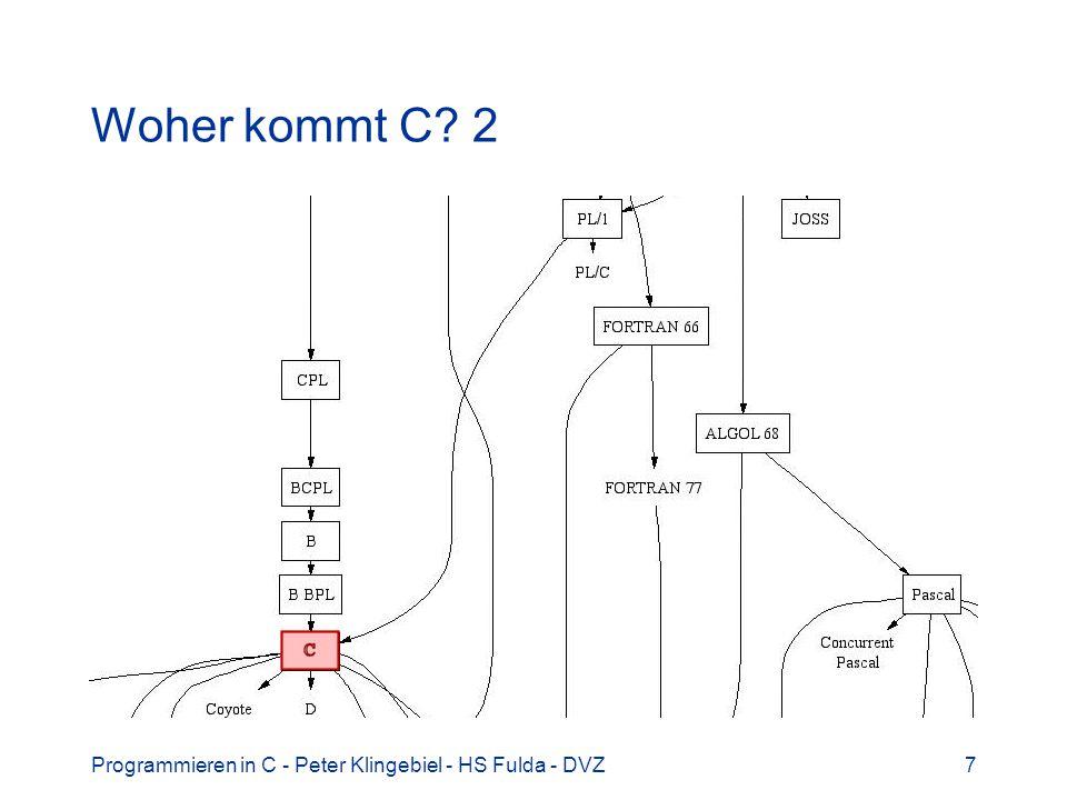 Programmieren in C - Peter Klingebiel - HS Fulda - DVZ7 Woher kommt C? 2