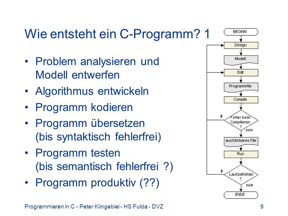 Programmieren in C - Peter Klingebiel - HS Fulda - DVZ9 Wie entsteht ein C-Programm? 1 Problem analysieren und Modell entwerfen Algorithmus entwickeln
