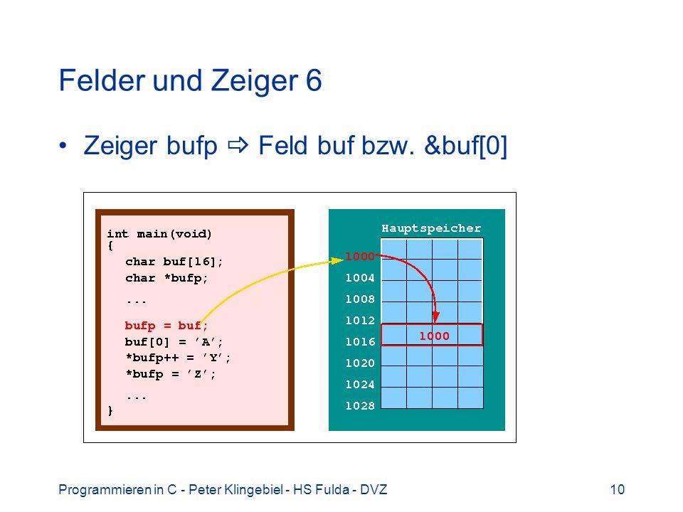 Programmieren in C - Peter Klingebiel - HS Fulda - DVZ10 Felder und Zeiger 6 Zeiger bufp Feld buf bzw. &buf[0]