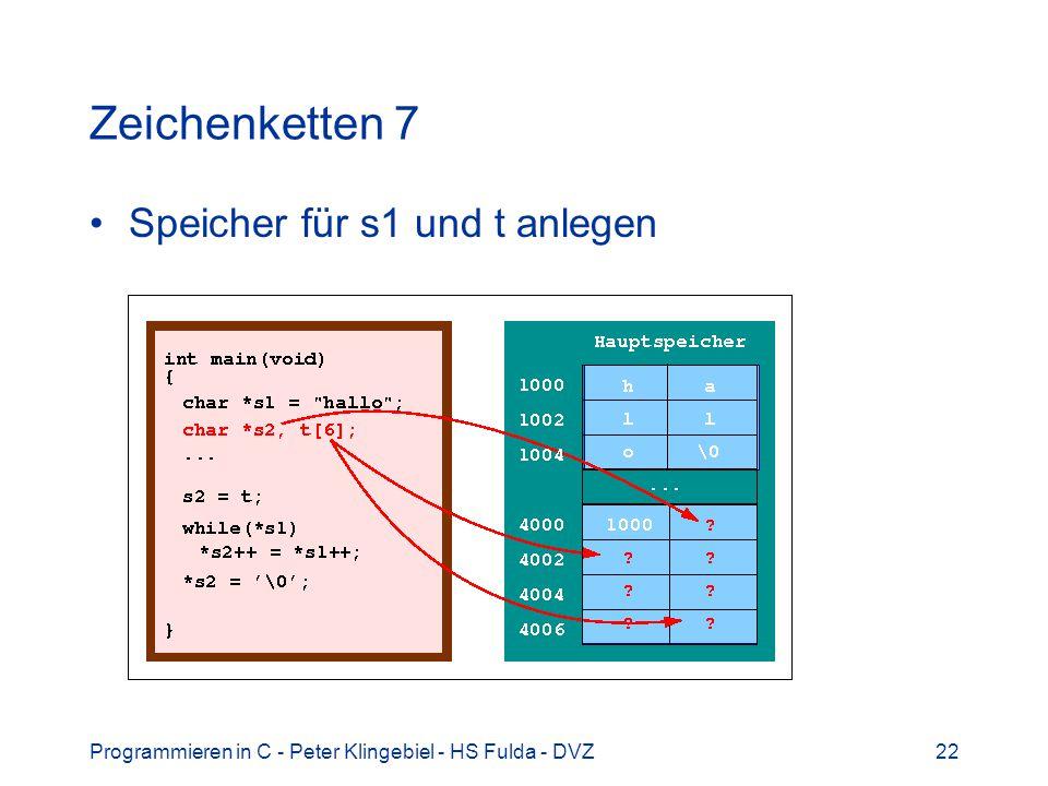 Programmieren in C - Peter Klingebiel - HS Fulda - DVZ22 Zeichenketten 7 Speicher für s1 und t anlegen