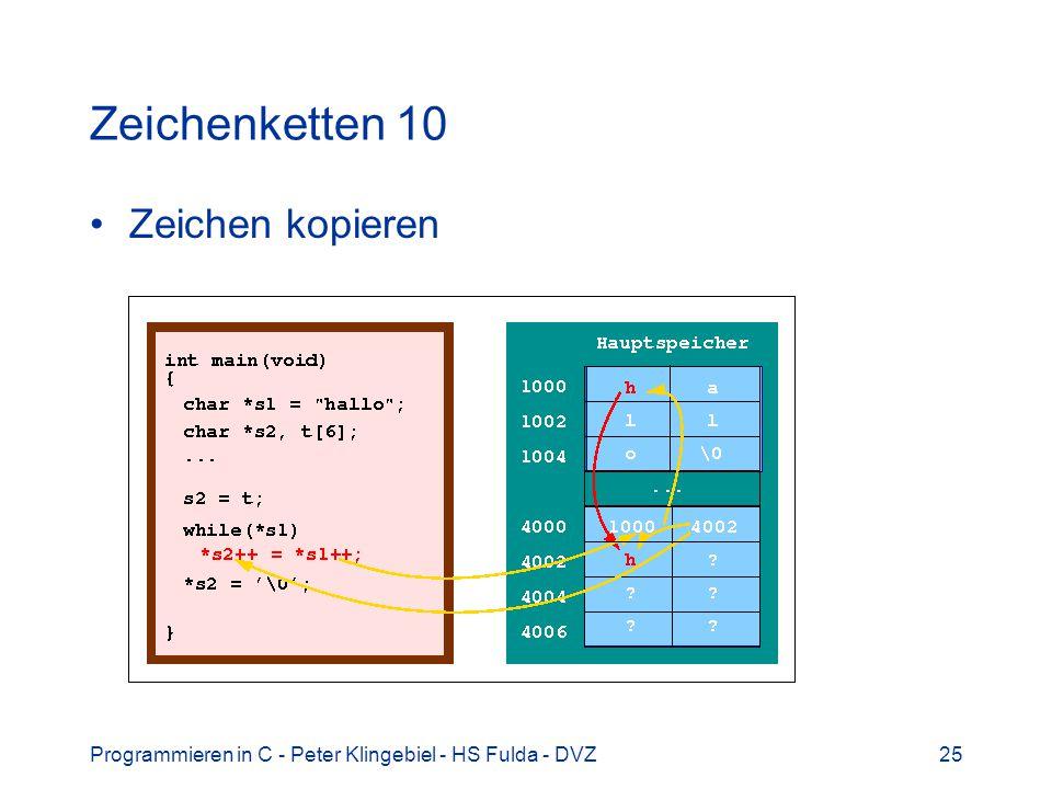 Programmieren in C - Peter Klingebiel - HS Fulda - DVZ25 Zeichenketten 10 Zeichen kopieren