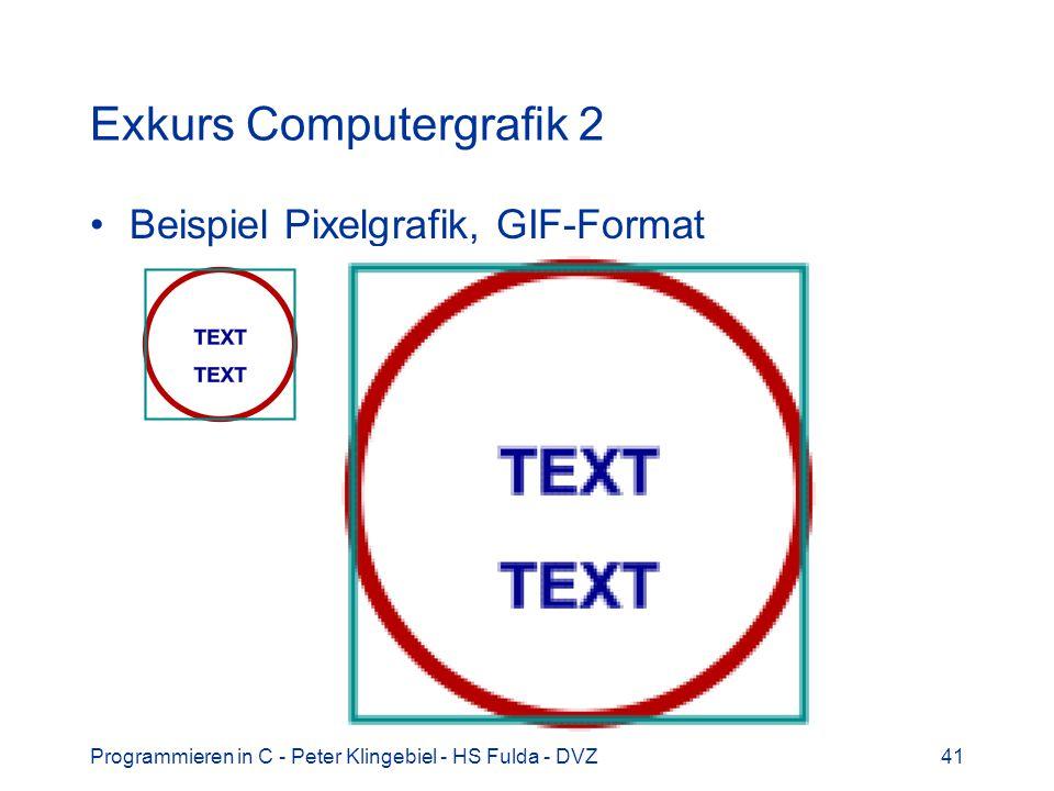 Programmieren in C - Peter Klingebiel - HS Fulda - DVZ41 Exkurs Computergrafik 2 Beispiel Pixelgrafik, GIF-Format