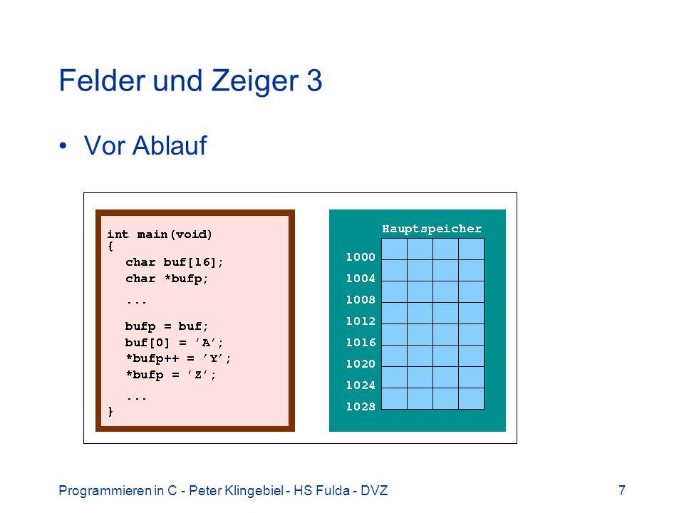 Programmieren in C - Peter Klingebiel - HS Fulda - DVZ38 Zusammengesetzte Datentypen 3 Funktionen für struct circle /* Kreis bewegen: Mittelpunkt veraendern */ void move_circle(struct circle *c, int x, int y) { c->x = x; c->y = y; } /* Kreisgroesse aendern: Radius veraendern */ void resize_circle(struct circle *c, int r) { c->r = r; }