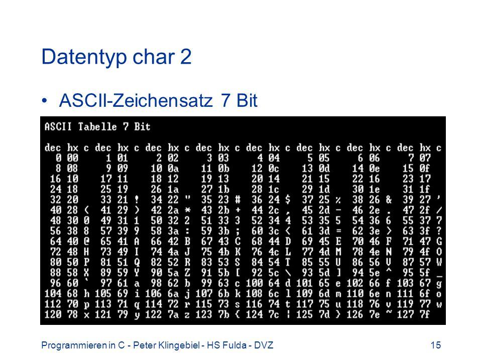 Programmieren in C - Peter Klingebiel - HS Fulda - DVZ15 Datentyp char 2 ASCII-Zeichensatz 7 Bit
