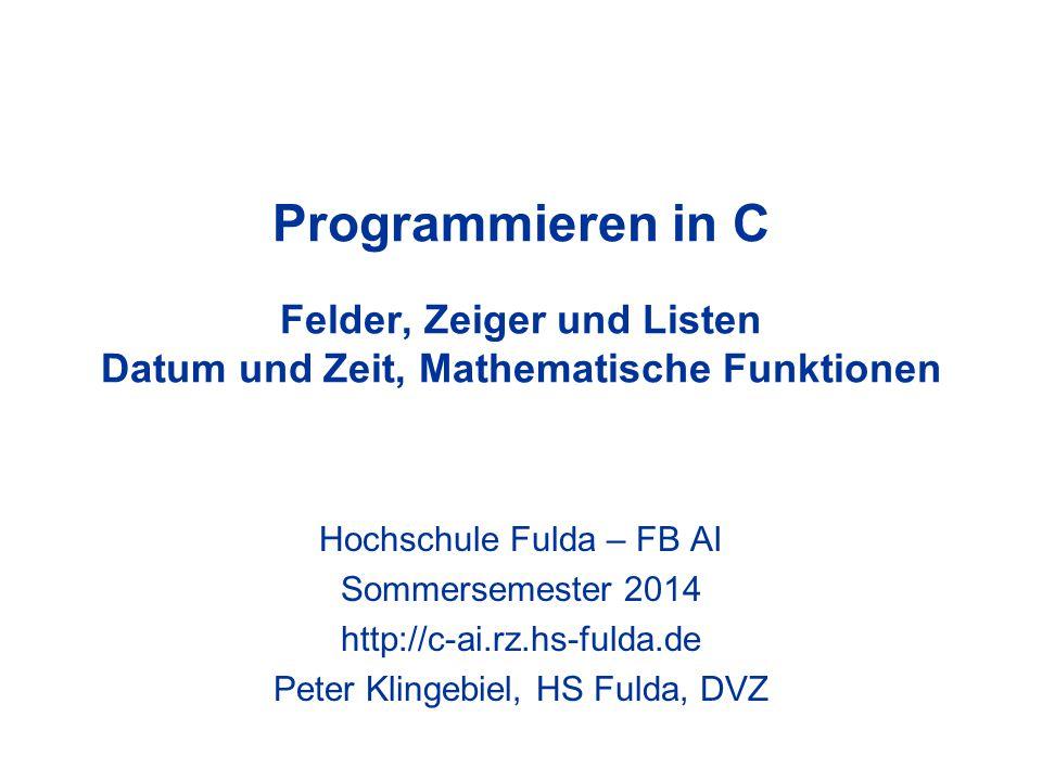Programmieren in C - Peter Klingebiel - HS Fulda - DVZ32 Mathematische Funktionen 11 Trapez-Algorithmus in C double a, b, h, I; double x, y; int i, n; h = (b – a) / n; I = 0.0; for(i = 0; i <= n; i++) { x = a + i * h; /* xi berechnen */ y = func(x); /* yi berechnen */ if(i == 0 || i == n) /* bei y0, yn: */ I = I + y / 2.0; /* I += y/2 */ else /* sonst: */ I = I + y; /* I += y */ } I = I * h; /* I = I * h */