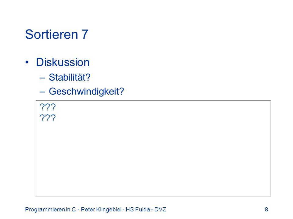 Programmieren in C - Peter Klingebiel - HS Fulda - DVZ9 Sortieren 8 Schnellerer Algorithmus Quicksort rekursiver Algorithmus für int -Feld void qsort(int v[], int left, int right) int i, last; if(left >= right) return; swap(v, left, (left + right) / 2); last = left; for(i = left + 1; i <= right; i++) if(v[i] < v[left]) swap(v, ++last, i); swap(v, left, last); qsort(v, left, last - 1); qsort(v, last + 1, right);