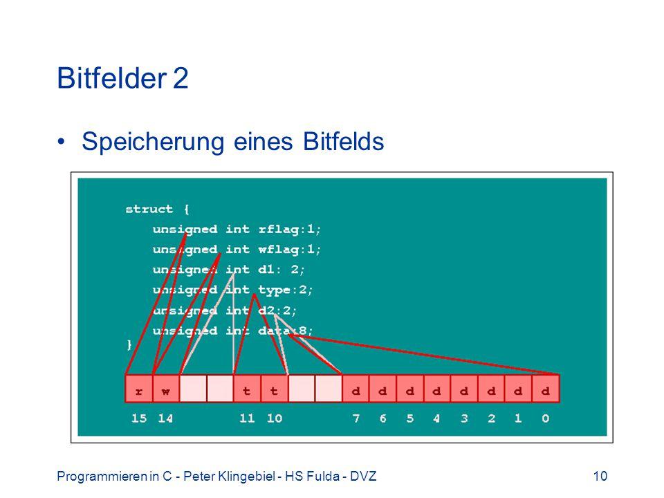 Programmieren in C - Peter Klingebiel - HS Fulda - DVZ10 Bitfelder 2 Speicherung eines Bitfelds