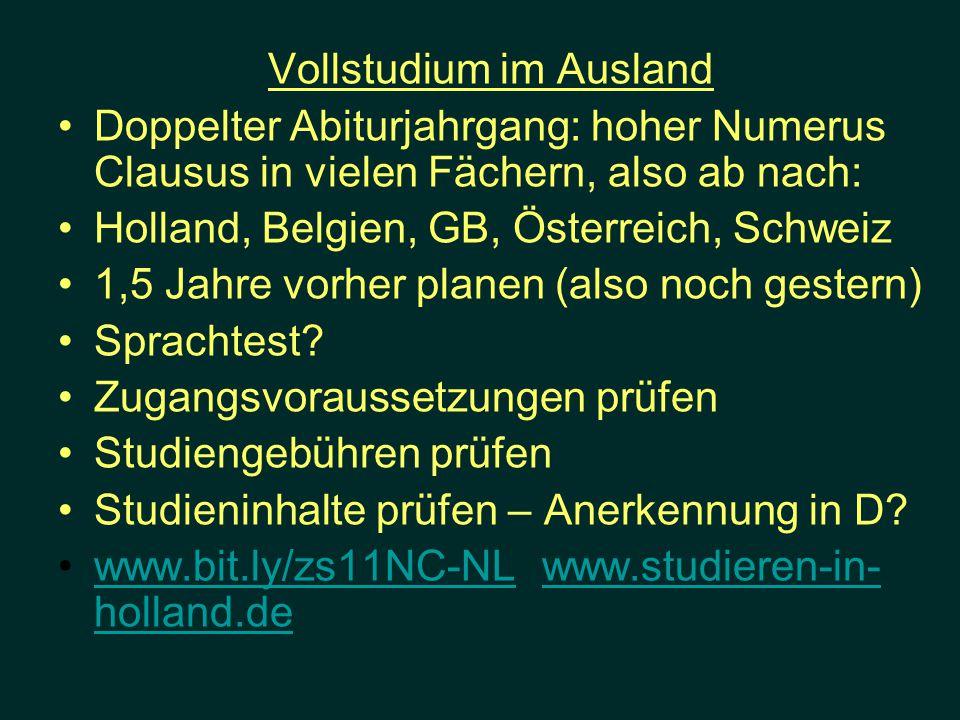 Vollstudium im Ausland Doppelter Abiturjahrgang: hoher Numerus Clausus in vielen Fächern, also ab nach: Holland, Belgien, GB, Österreich, Schweiz 1,5