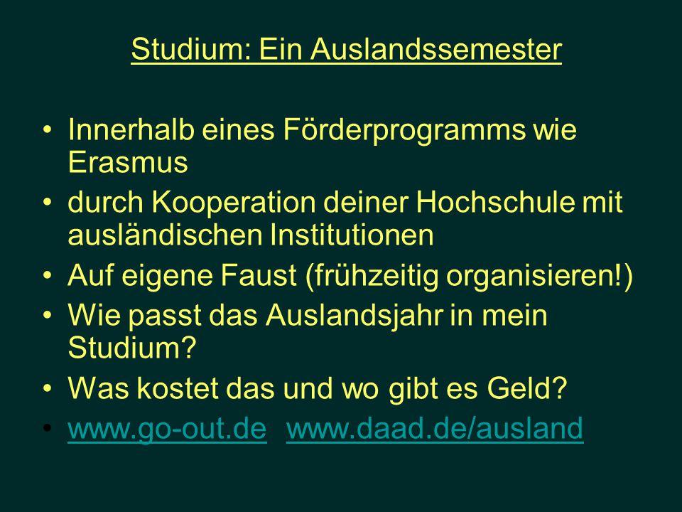 Studium: Ein Auslandssemester Innerhalb eines Förderprogramms wie Erasmus durch Kooperation deiner Hochschule mit ausländischen Institutionen Auf eige