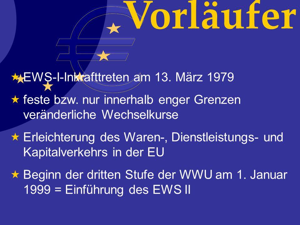 Vorläufer EWS-I-Inkrafttreten am 13. März 1979 feste bzw. nur innerhalb enger Grenzen veränderliche Wechselkurse Erleichterung des Waren-, Dienstleist