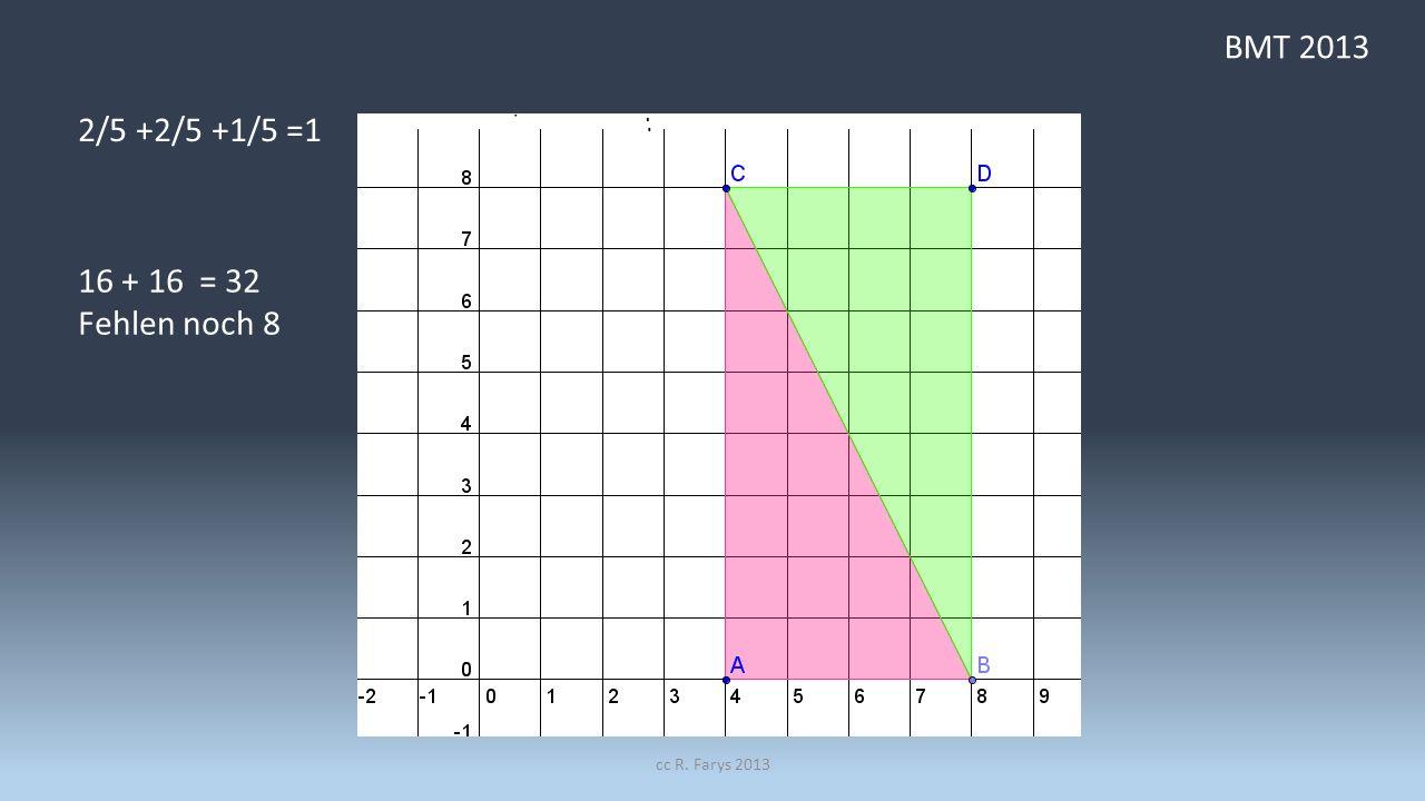 BMT 2013 2/5 +2/5 +1/5 =1 16 + 16 = 32 Fehlen noch 8 cc R. Farys 2013