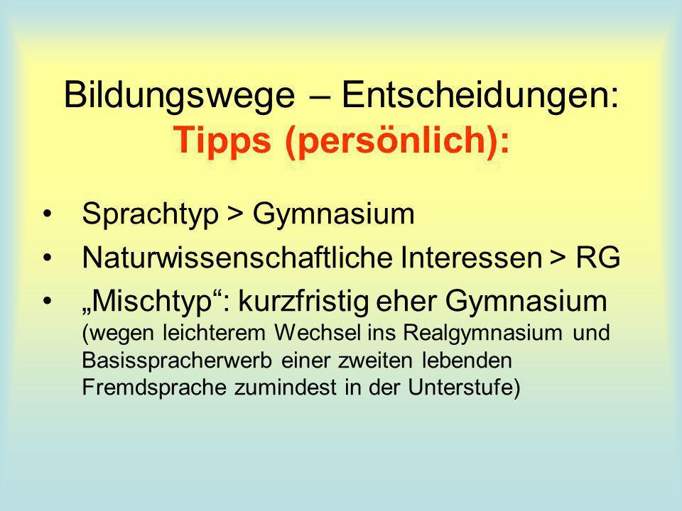 Bildungswege – Entscheidungen: Tipps (persönlich): Sprachtyp > Gymnasium Naturwissenschaftliche Interessen > RG Mischtyp: kurzfristig eher Gymnasium (