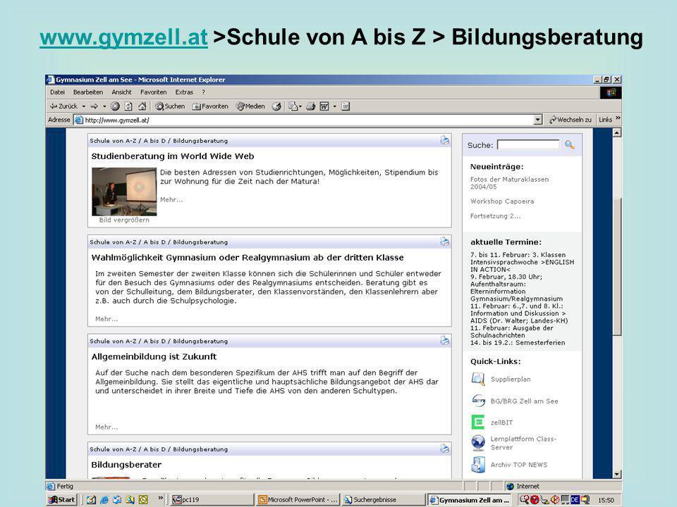 www.gymzell.atwww.gymzell.at >Schule von A bis Z > Bildungsberatung