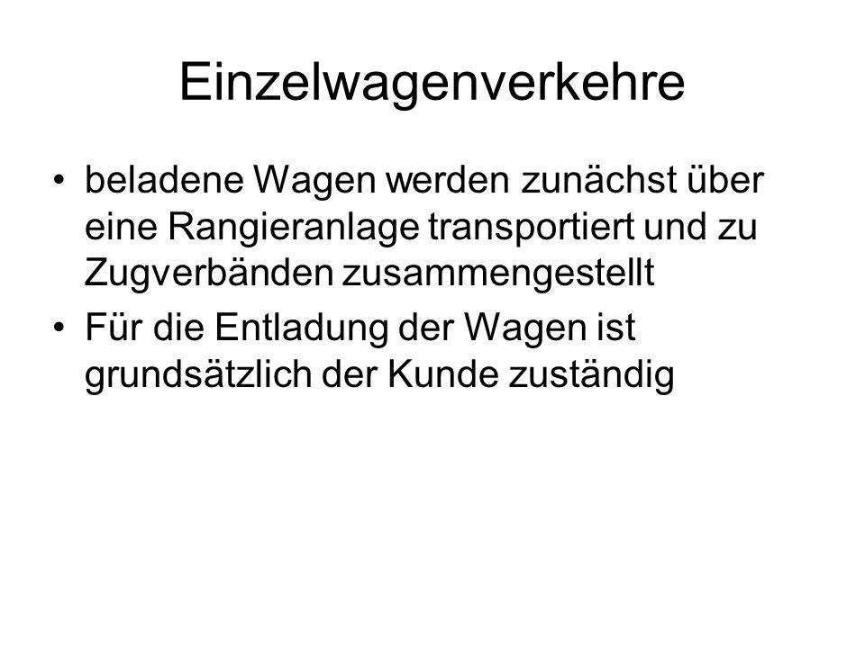 Einzelwagenverkehre beladene Wagen werden zunächst über eine Rangieranlage transportiert und zu Zugverbänden zusammengestellt Für die Entladung der Wagen ist grundsätzlich der Kunde zuständig