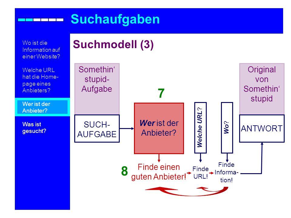 Suchmodell (3) Suchaufgaben Wo .
