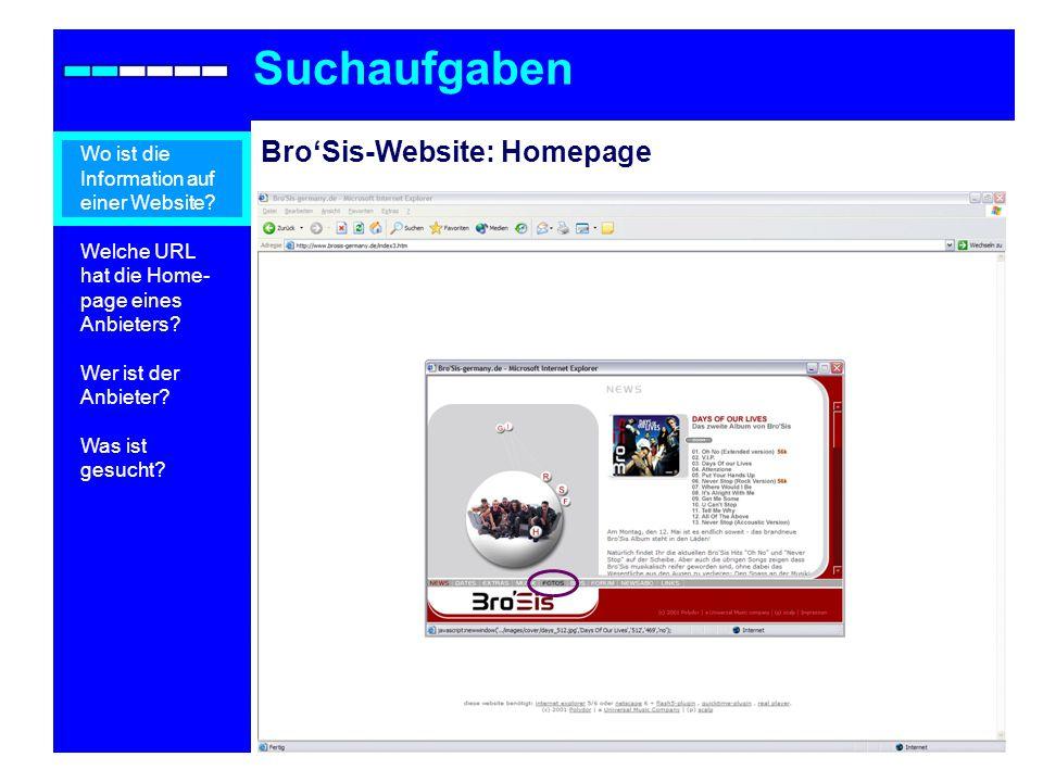 BroSis-Website: Homepage Suchaufgaben Wo ist die Information auf einer Website.