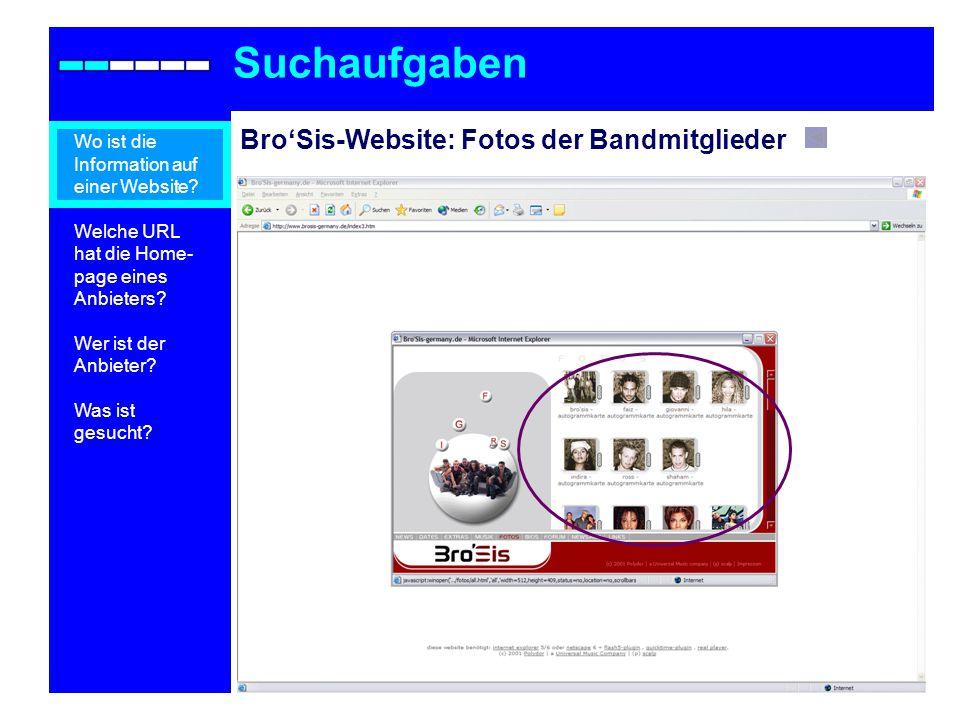 BroSis-Website: Fotos der Bandmitglieder Suchaufgaben Wo ist die Information auf einer Website.