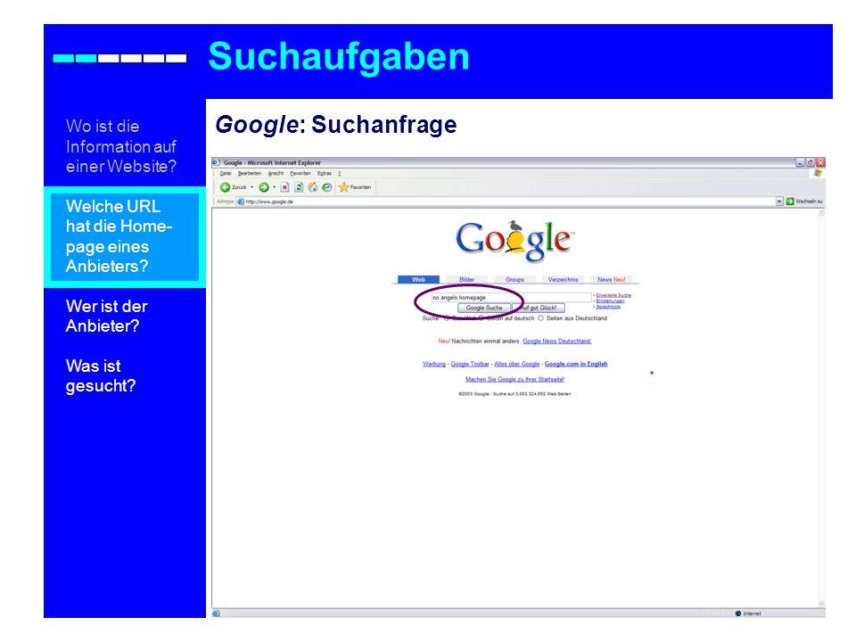 Google: Suchanfrage Suchaufgaben Wo ist die Information auf einer Website.