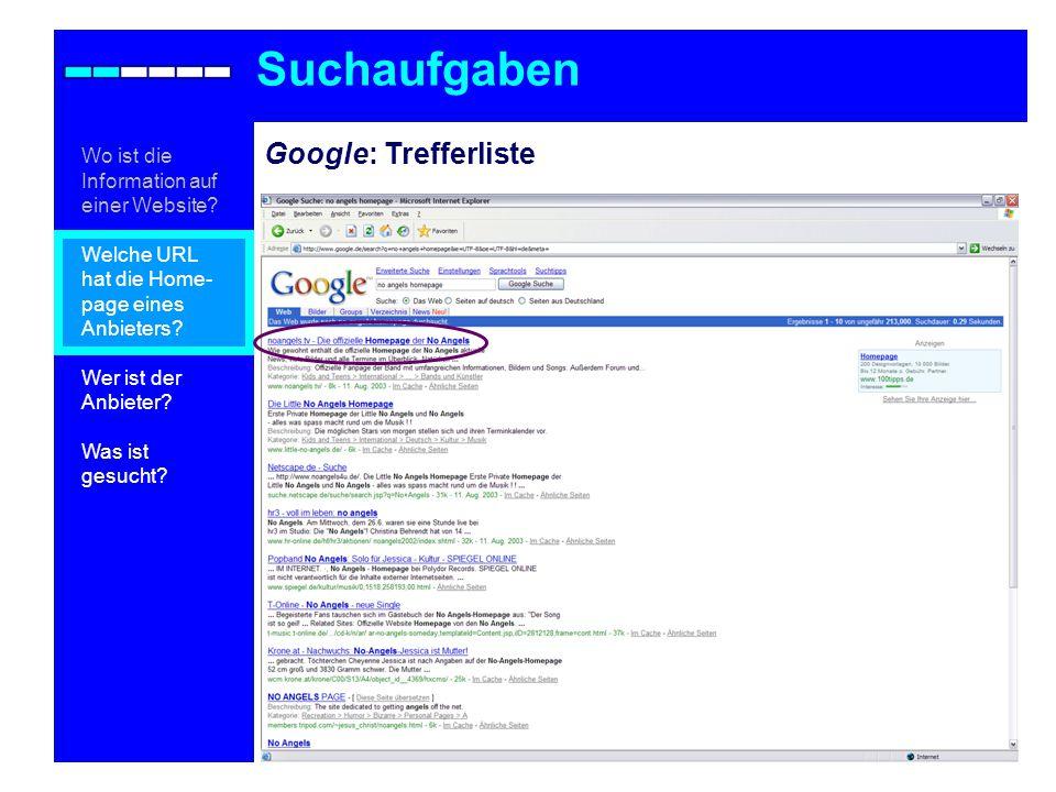 Google: Trefferliste Suchaufgaben Wo ist die Information auf einer Website.