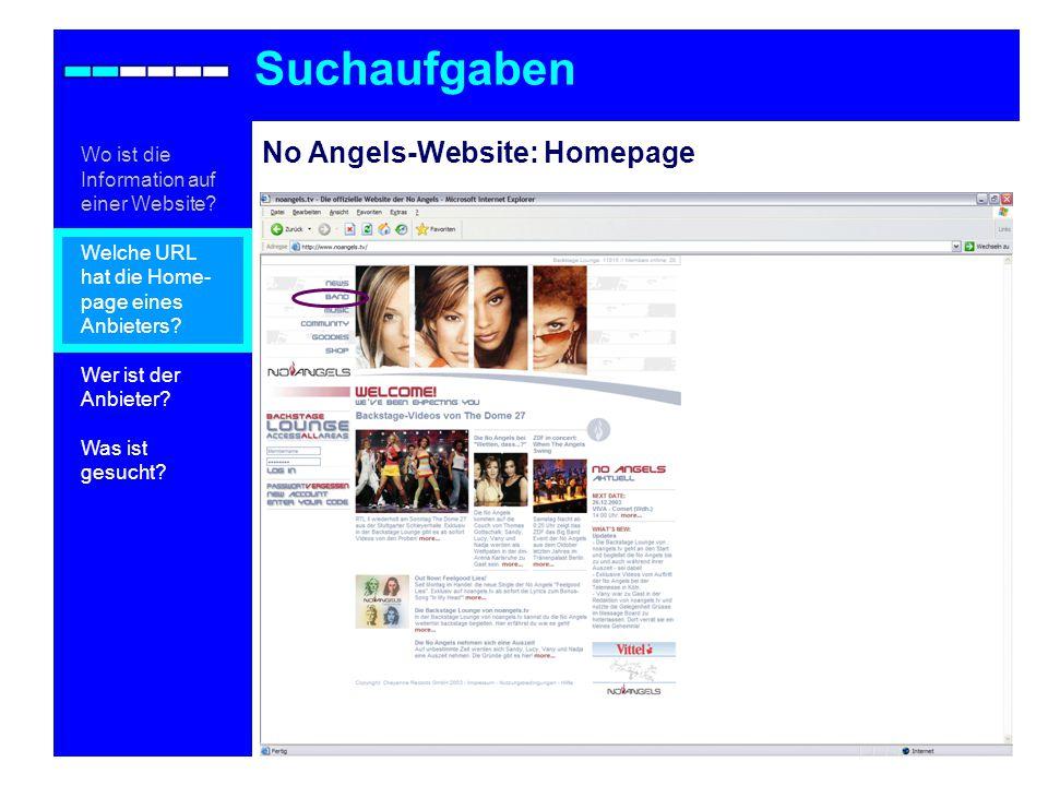 No Angels-Website: Homepage Suchaufgaben Wo ist die Information auf einer Website.