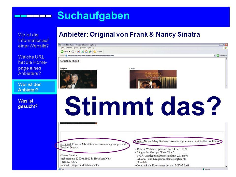 Anbieter: Original von Frank & Nancy Sinatra Suchaufgaben Stimmt das.