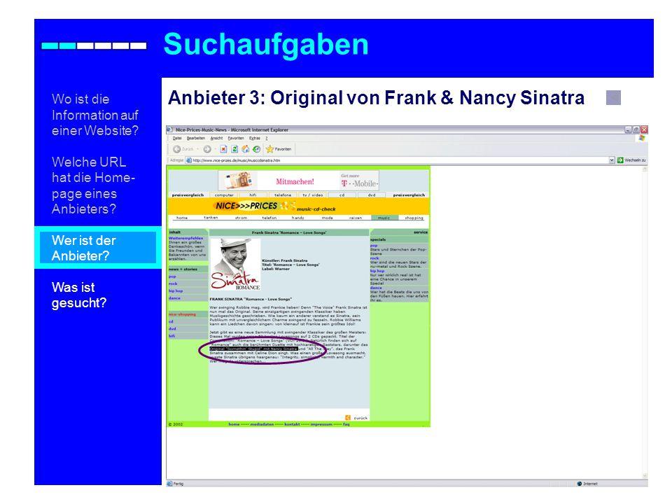 Anbieter 3: Original von Frank & Nancy Sinatra Suchaufgaben Wo ist die Information auf einer Website.