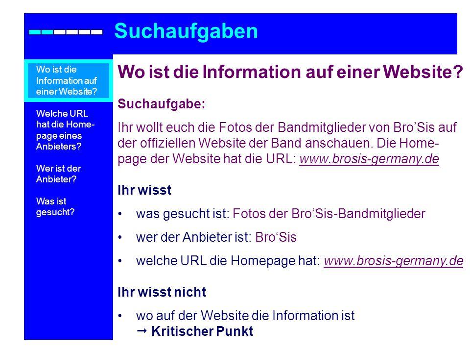 Teilaufgabe 4: Jason Orange Suchaufgaben Wo ist die Information auf einer Website.