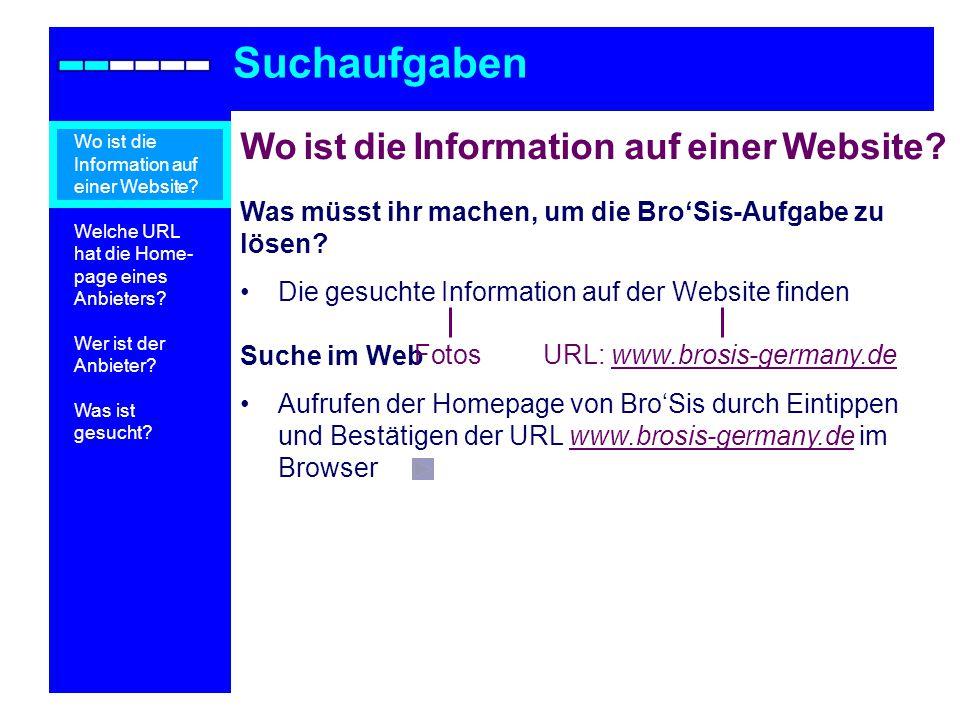 Suchmodell (1) Suchaufgaben Wo ist die Information auf einer Website.