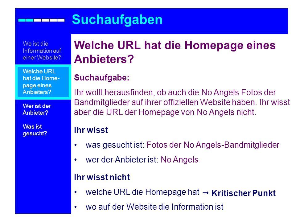 Welche URL hat die Homepage eines Anbieters.