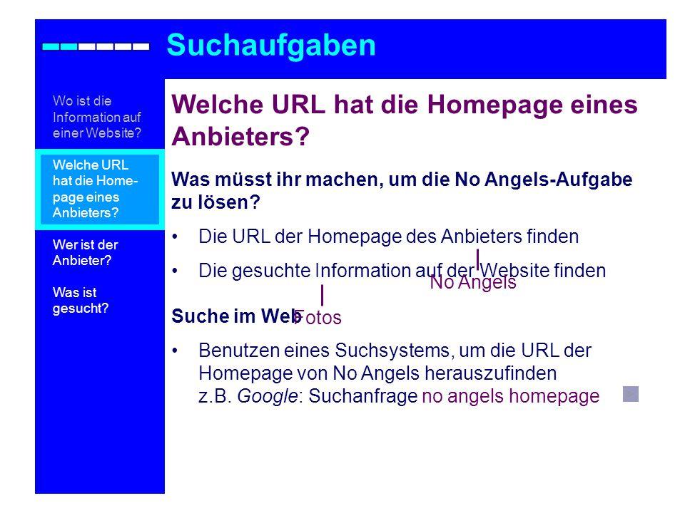 Noch Fragen.Suchaufgaben Wo ist die Information auf einer Website.