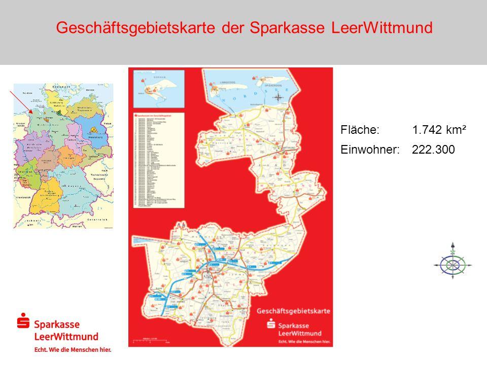 Geschäftsgebietskarte der Sparkasse LeerWittmund Fläche: 1.742 km² Einwohner: 222.300