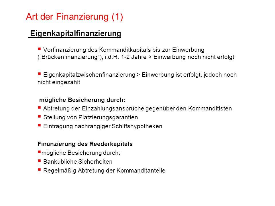 Art der Finanzierung (1) Eigenkapitalfinanzierung Vorfinanzierung des Kommanditkapitals bis zur Einwerbung (Brückenfinanzierung), i.d.R. 1-2 Jahre > E