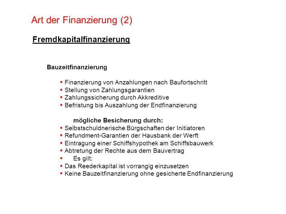 Art der Finanzierung (2) Fremdkapitalfinanzierung Bauzeitfinanzierung Finanzierung von Anzahlungen nach Baufortschritt Stellung von Zahlungsgarantien