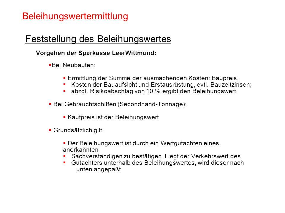 Beleihungswertermittlung Feststellung des Beleihungswertes Vorgehen der Sparkasse LeerWittmund: Bei Neubauten: Ermittlung der Summe der ausmachenden K