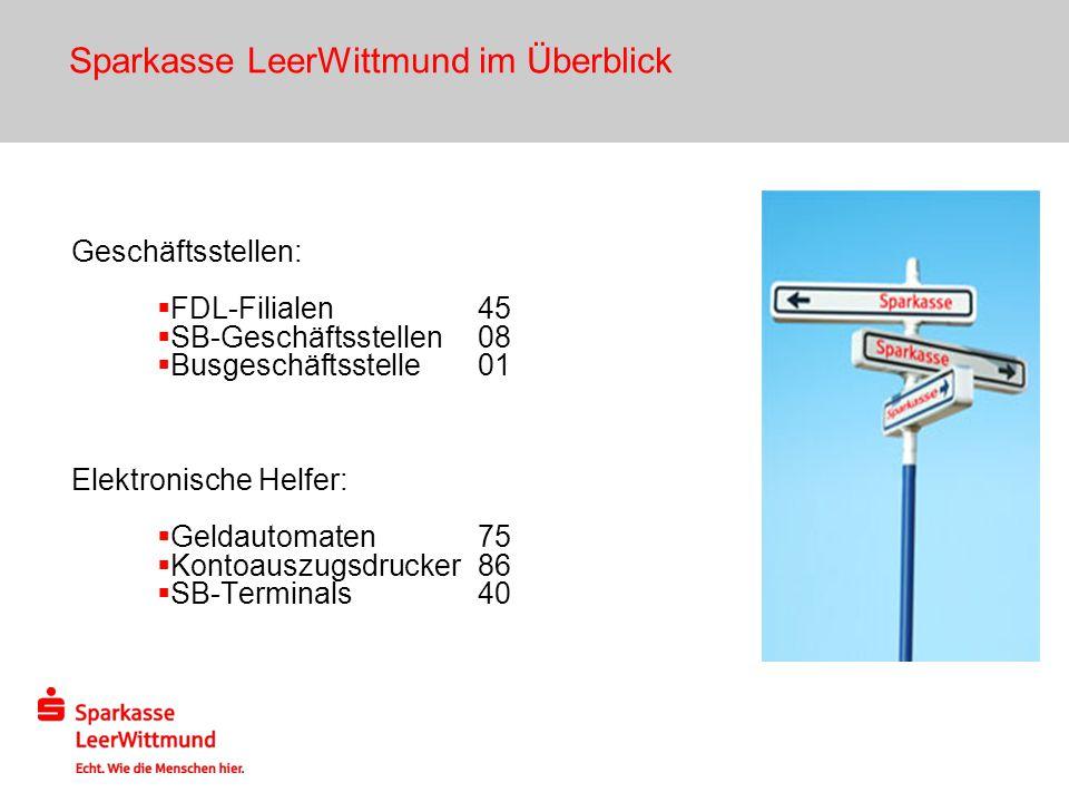 Sparkasse LeerWittmund im Überblick Geschäftsstellen: FDL-Filialen45 SB-Geschäftsstellen08 Busgeschäftsstelle01 Elektronische Helfer: Geldautomaten75