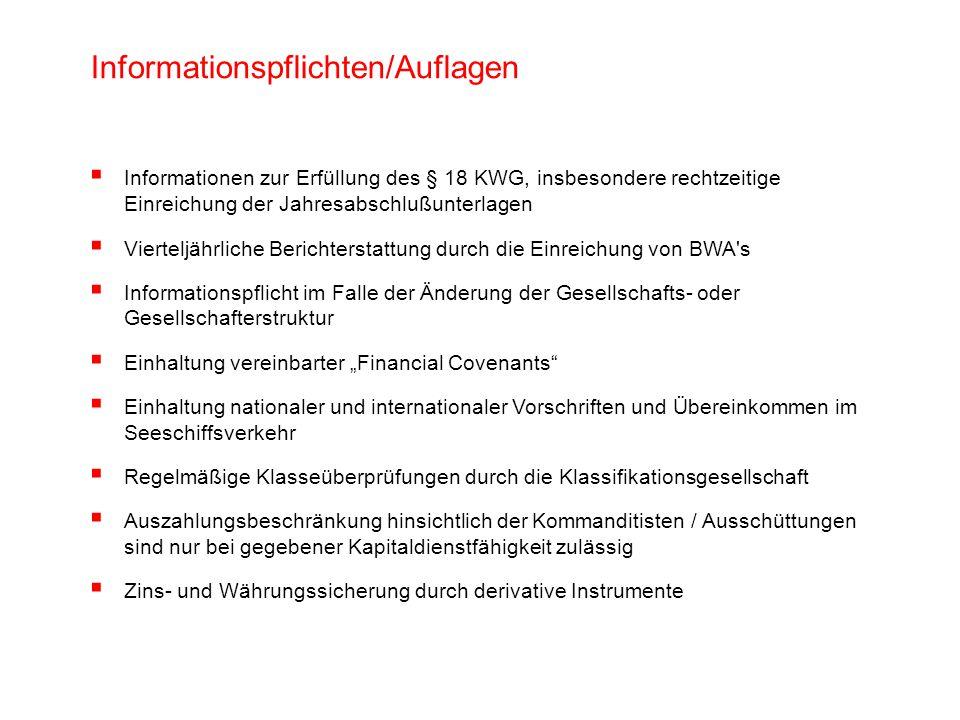 Informationspflichten/Auflagen Informationen zur Erfüllung des § 18 KWG, insbesondere rechtzeitige Einreichung der Jahresabschlußunterlagen Vierteljäh