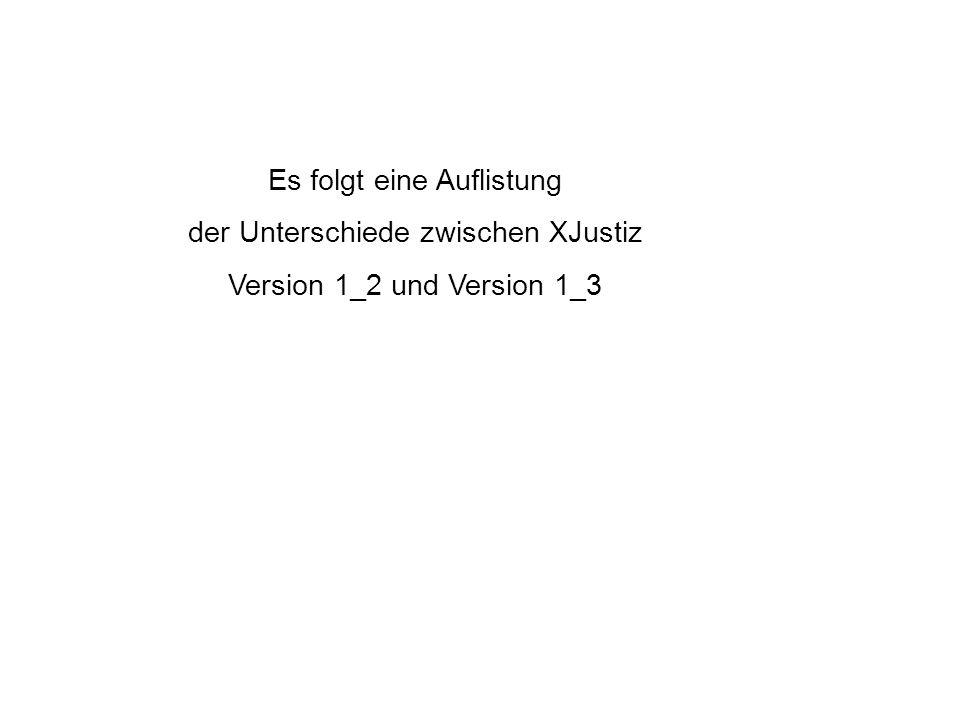 Es folgt eine Auflistung der Unterschiede zwischen XJustiz Version 1_2 und Version 1_3